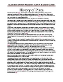History of Pizza with Article Questions for FCS Culinary A