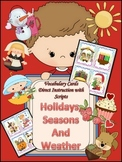 Holiday, Seasons, and Weather Vocabulary Cards for Primary