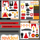 Hollywood Movie Night Clip art (3 packs)