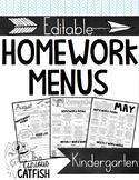 Homework Menus: Kindergarten