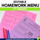 Homework Menus for the Entire Year {EDITABLE} 1st Grade