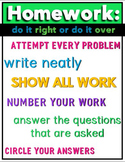 Homework Poster for Middle School or High School Math Clas