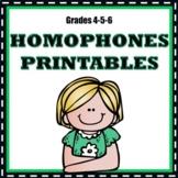 Homophones No Prep Printables - Grades 4-5-6