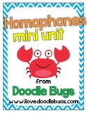 Homophone Unit: Centers, Activities, Review Sheets & Flash Cards