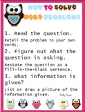 How To Solve Word Problems Classroom Posters Owl frame
