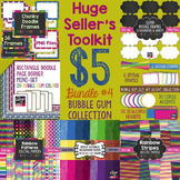 Huge Seller's Toolkit Bundle #4! Bubble Gum Papers, Border
