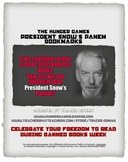 Hunger Games President Snow Censorship Bookmarks