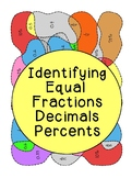 Identifying Equal Fractions Decimals Percents Coloring Act