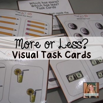 Work on Concepts of More and Less using Task Cards (special education)