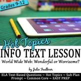 Nonfiction Close Reading Lesson on Hot Topics: Internet Sa