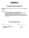 Informative Speech Assignment and Rubric