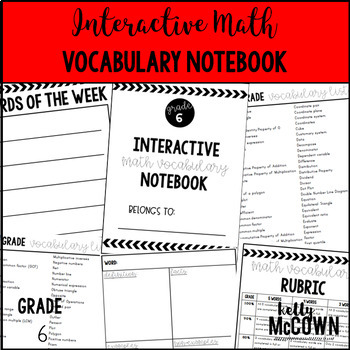 Interactive MATH Vocabulary Notebook {Grade 6}