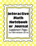 Interactive Math Notebook or Journal Supplement Pages