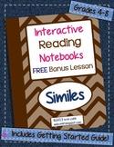 Interactive Reading Notebooks ~ Free Bonus Lesson #3 ~ Similes