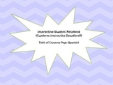 Interactive Student Notebook - Table of Contents Page (Spanish)