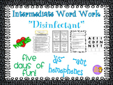 """Word Work and Vocabulary 5-Day Intermediate Unit """"DISINFECTANT"""""""