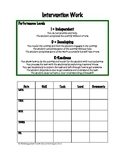 Intervention Work Recording Sheet