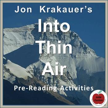 Into Thin Air by Jon Krakauer--Pre-Reading Activities