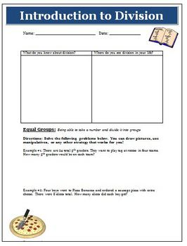 Introduction to Division Lesson Plan Activity Math Common Core