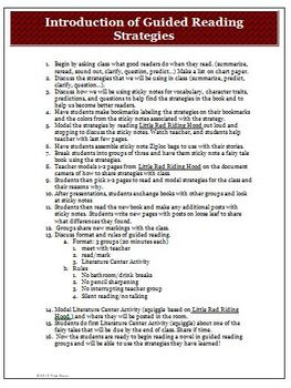 Introduction to Guided Reading Strategies Lesson Plan and