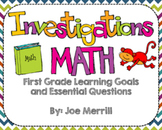 Investigations Math Learning Goals and Essential Questions