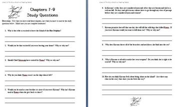 Island of the Blue Dolphins - Study Questions (Chap. 7-9)