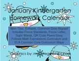 January Mon.-Thur. Editable Common Core Kindergarten 4 Wee