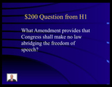 Jeopardy Law Game Bill of Rights, Amendments to U.S. Constitution