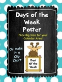 Jungle Days of the Week Poster
