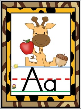Jungle Safari Alphabet Line Posters A-Z