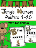 Jungle Safari Number Posters 1-20 (WITH TEN FRAMES)