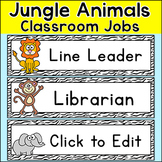 Classroom Jobs Labels - Editable - Jungle Theme Classroom