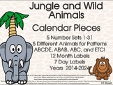Jungle and Wild Animals Calendar Pieces Make Monthly Patterns