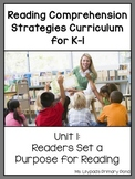 Reading Comprehension Strategies for K-1 {Unit 1: Setting