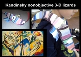 Kandinsky nonobjective 3-D Abstract lizards