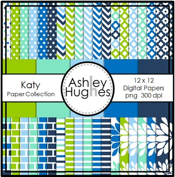Katy Paper Collection {12x12 Digital Papers for Commercial Use}