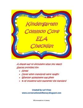 Kindergarten CCSS ELA Checklist: Documenting What You Teach