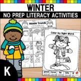 Kindergarten Winter Literacy Worksheets (Common Core Aligned)