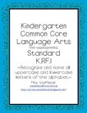 Kindergarten Common Core Assessments- K.RF.1 Language Arts