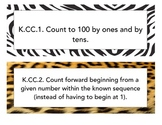 Kindergarten Common Core Math Objectives - Animal Print