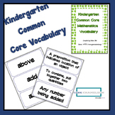 Kindergarten Common Core Math Standards Vocabulary Cards