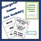 Kindergarten Common Core Math Standards Vocabulary Cards