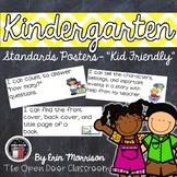 """Kindergarten Common Core Standards Posters- """"Kid Friendly"""""""