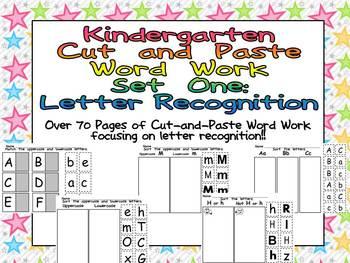 Kindergarten Cut and Paste Word Work- Set One- Letter Recognition