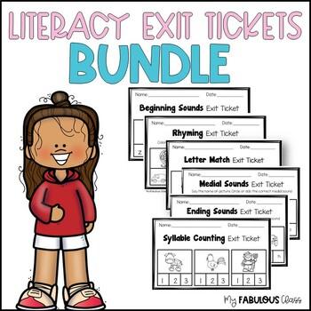 Kindergarten Literacy Exit Tickets- a Growing Bundle