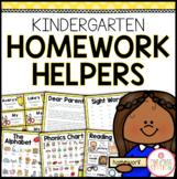 Kindergarten Homework Organization: Editable