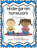 Kindergarten Homework or Morning Work-D'Nealian-36 Weeks