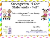 Kindergarten I Can Statements - Math - Indiana College and