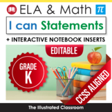 Kindergarten Common Core Standards Posters I Can Statement