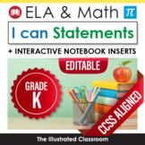 Kindergarten Common Core Standards Posters I Can Statement